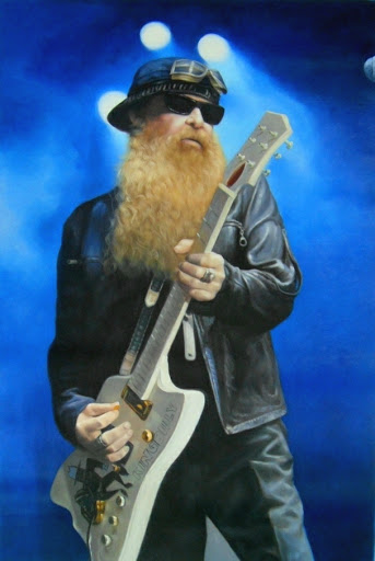 Billy Gibbons (ZZ-TOP) - Olieverf op Canvas - 60 x 90 cm