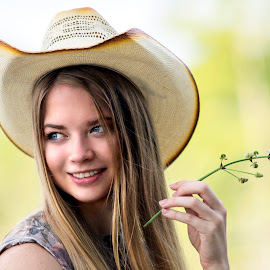 Flower and a Smile by Sylvester Fourroux - People Portraits of Women