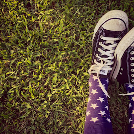 Just Converse by Amelia Rice - Artistic Objects Clothing & Accessories ( shoes, start, grass, converse, socks, feet )
