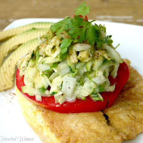 Egg-Fried Fish with Fresh Zucchini & Avocado Slaw