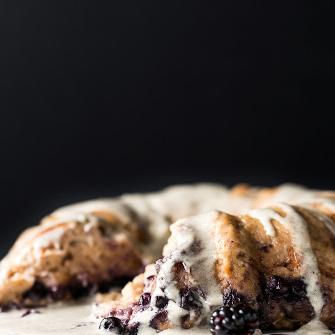 Vegan Blueberry Bread Pudding Breakfast Cake with Vanilla-Hemp Crème Anglaise