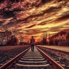 Through the road to heaven by Akshansh Garg - Digital Art People ( clouds, ak media works, concept, walking, railway, heaven, sunset, track, cloudscape, germany, yellow, conceptual, fire )