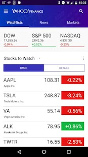 Yahoo Finance screenshot for Android