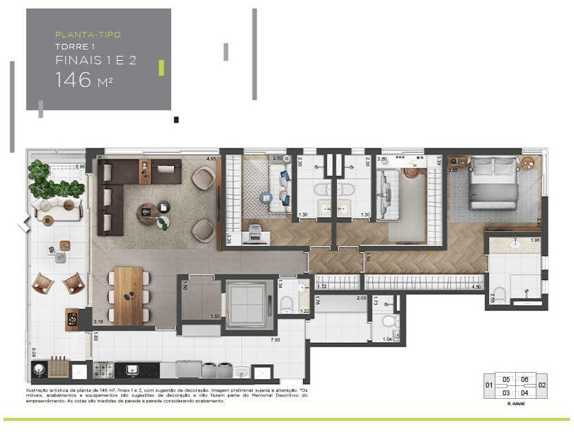 Planta Tipo - 146 m²