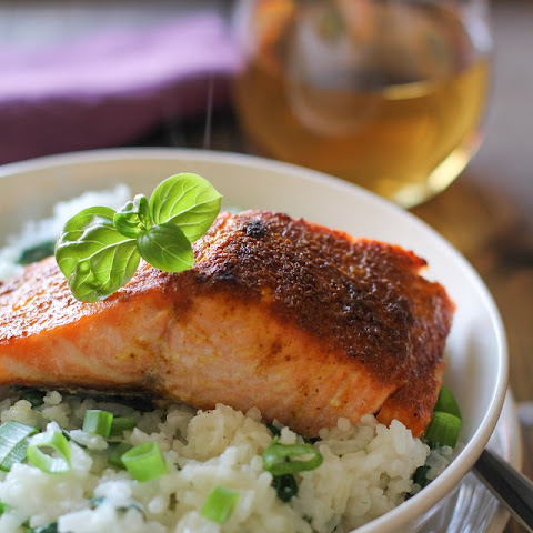 Crispy Curried Salmon with Basil Coconut Rice
