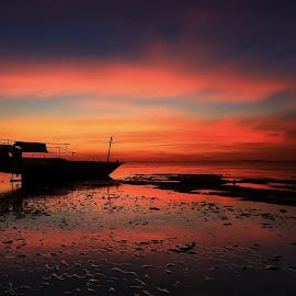 Sunset' Boat by Ina Herliana Koswara - Landscapes Sunsets & Sunrises ( reflection, sky, sunset, beach, boat )