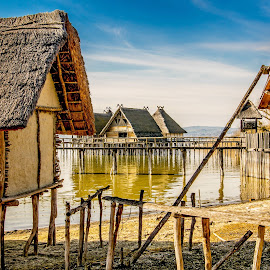 Historical life at lake 5000 years ago by Linda Brueckmann - Landscapes Waterscapes
