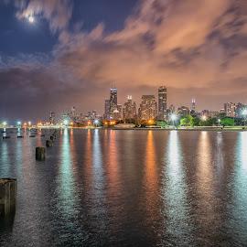 Chicago Skyline at Sunset by Amy Ann - City,  Street & Park  Skylines