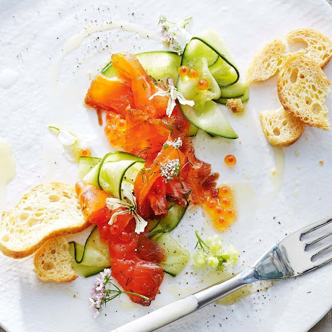 Treacle And Whisky-cured Salmon With Quick-pickled Cucumber