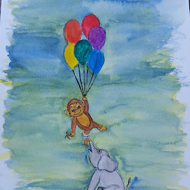 I Got You by Paula Moore - Painting All Painting ( watercolor, friends, elegant, baby, balloons, painting, monkey )