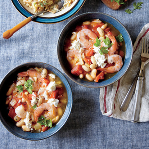 Greek Shrimp with White Beans, Tomato Sauce, and Feta
