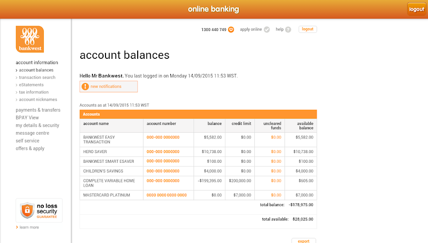 bankwest com au online banking