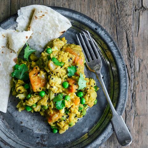 Novice Yogi's Kitchari - Basmati and Split Peas with Indian spices, vegetables and fresh herbs