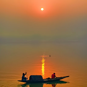 Sunrise Over River Ganges by Chiradeep Mukhopadhyay - Landscapes Sunsets & Sunrises ( nature, ganges, sunrise, boat, nikon, d5100, river )