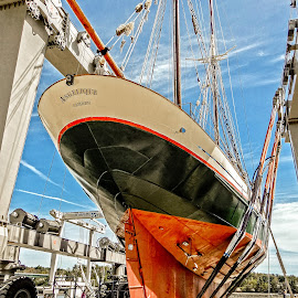 Boat in a Sling by Richard Michael Lingo - Transportation Boats ( dry dock, maine, belfast, boats, transportation )