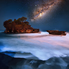 Mystical Beach by Hendri Suhandi - Landscapes Starscapes ( temple, milkyway, cliff, mood, star, night, beach, starscape, nightscape )