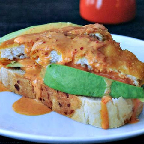 Golden Avocado Toast with Spicy Kimchi Sauce