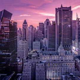 From the 44th by Jeffrey Bucovetsky - City,  Street & Park  Skylines ( skyline, manhattan, sunrise, cityscape, landscape )