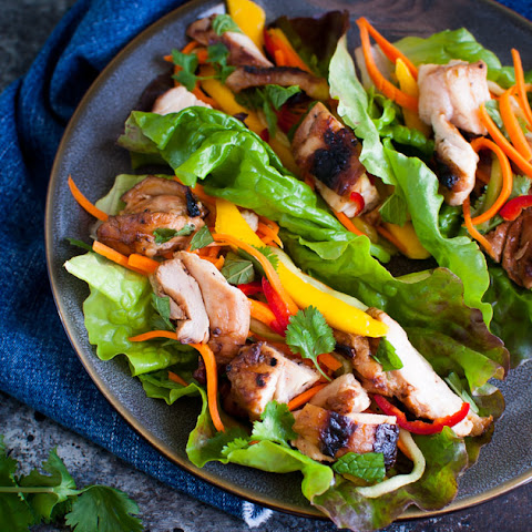 Grilled Chicken Lettuce Wraps with Carrot, Cucumber and Mango Slaw