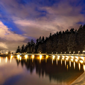 Mt. Tabor Reservoir by Eric Hanson - City,  Street & Park  City Parks ( curve, clouds, water, oregon, reflection, portland, park, city park, tabor, lights, reservoir, color, dark, trees, night, long exposure )