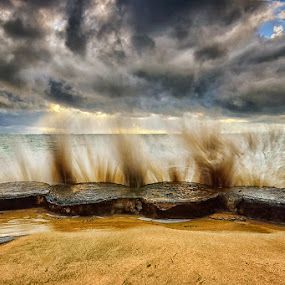 Vault by Hendri Suhandi - Landscapes Beaches ( clouds, karang, bali, splash, sunbeams, sunset, sanur, sunrise, beach, motion )