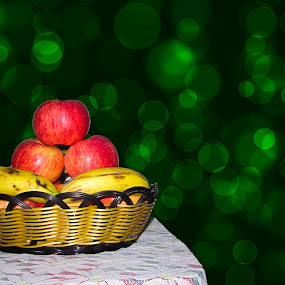 Fruit Basket by Aamir Soomro - Food & Drink Fruits & Vegetables ( fruit-basket, fruit, malus domestica, pwcfruit, fruits, white, musa, yellow, banana, red, bananas, apple, basket, apples )