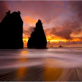 Twin Peaks. by Dustin Penman - Landscapes Sunsets & Sunrises ( shore, washington, dustin, waves, sunset, long exposure, penman, nikon d7000, coast )