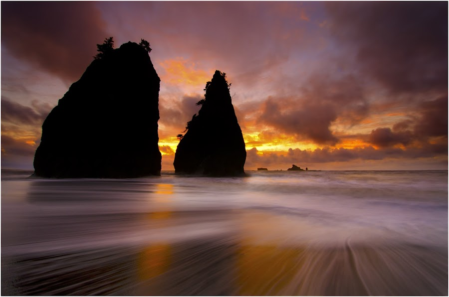 Twin Peaks. by Dustin Penman - Landscapes Sunsets & Sunrises ( shore, washington, dustin, waves, sunset, long exposure, penman, nikon d7000, coast )