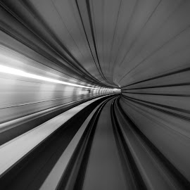 TUnnel II by Hussien Mullar - Black & White Buildings & Architecture ( b&w, railway, transportation, mrt, tunnel )