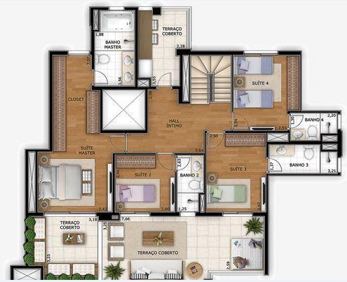 Planta Duplex Inferior - 307 m²