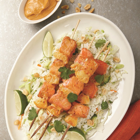 Spicy Asian Salmon Skewers with Pineapple Rice Slaw