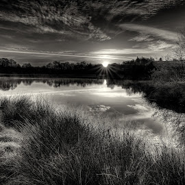 Loch Jess, Annbank sunrise by Stephen Crawford - Black & White Landscapes ( clouds, water, scotland, loch jess, ayrshire, fishing, pond, annbank, , relax, tranquil, relaxing, tranquility )
