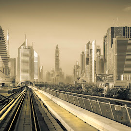 Dubai Metro by Sergiu Chirilov - City,  Street & Park  Skylines ( skyline, monochrome, dubai, buildings, train, architecture, city )
