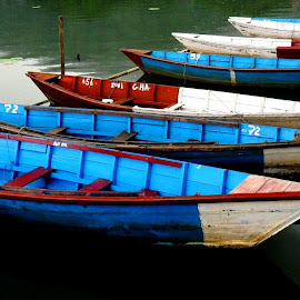Boat Series 5 by Sudipto Hazra - Transportation Boats ( water, colur, ferry, bright, blue, boats, lake,  )