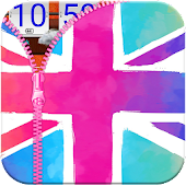 UK Flag Zipper Lock App APK for Bluestacks
