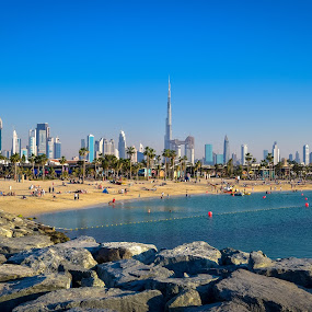 Skyline of Dubai by Mehul V - City,  Street & Park  Skylines ( burj khalifa, beach, skyline, dubai )