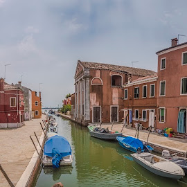 Burano by Ole Steffensen - City,  Street & Park  Street Scenes ( venezia, church, italia, street, venice, burano, boat, canal, italy )