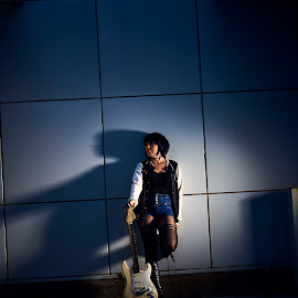 Jiro by Joshua Clifford - People Fashion ( cosplay, shadow, night, girl, portrait, guitar, slanted, character, music, outfit, school, female, wall,  )