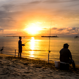 dad and son fishing at sunset by Diane Davis - People Street & Candids ( sunset )
