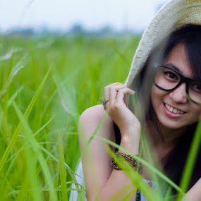 I'm White in Green by Deddy Dwianto - People Portraits of Women