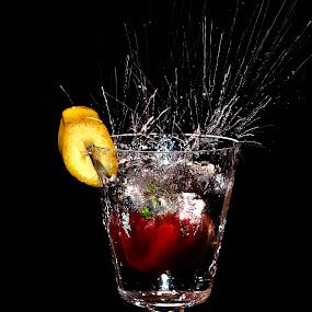 banana & red bell pepper splash by Angelo Jadulco - Food & Drink Fruits & Vegetables ( red bell pepper, banana, splash, fruits )