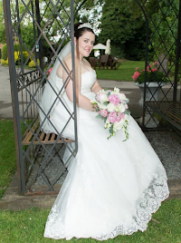 Joanne wearing wedding dress 'Destiny',