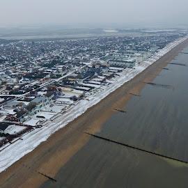East wittering by Bela Paszti - City,  Street & Park  Skylines ( djipahntom, 4k, chichester, snow, eastwittering, sea, air, aerial,  )