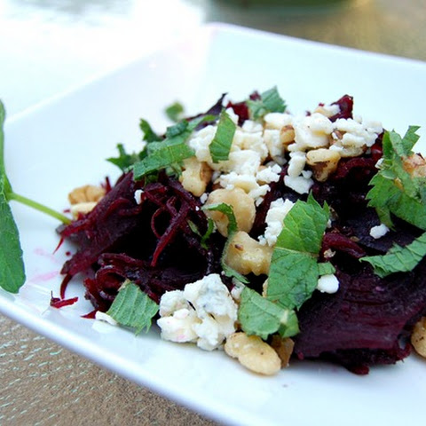 Beet Salad with Blue Cheese, Walnuts & Mint