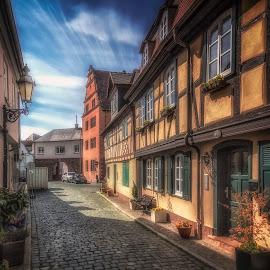 Höchst by Ole Steffensen - City,  Street & Park  Street Scenes ( cobblestones, half-timbered houses, street, germany, frankfurt-höchst, street lamp, shutters )
