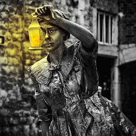 the stone lady by Danny Schurgers - Digital Art Things ( black and white, beautiful, art, belgium, living statue, photography )