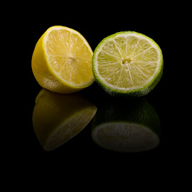Citrus by Cory Loomis - Food & Drink Fruits & Vegetables ( fruit, reflection, light painting, citrus, still life, green, long exposure, lime, yellow, lemon )