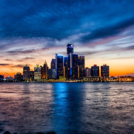 Detroit Skyline at NIght by Carol Ward - City,  Street & Park  Skylines ( detroit river, michigan, skyline, sunset, night time, detroit, nightscape )