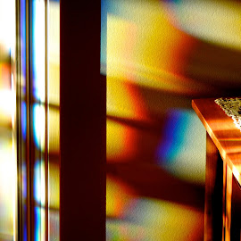 Early evening, front foyer.  by Campbell McCubbin - Abstract Patterns ( abstract, spectrum, leaded glass, refraction, rainbow, light )