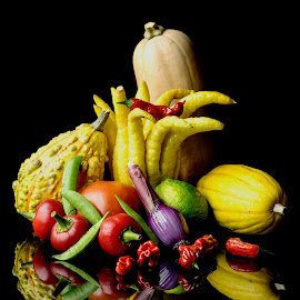 Buddha Hand Veggie Melee by Jim Downey - Food & Drink Fruits & Vegetables ( peppers, scallons, cherry tomatoes, lime, squash, peas )